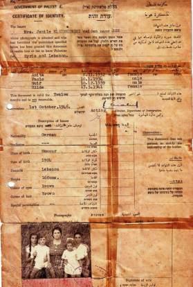 Reisedokument Regierung Palästina (Vorderseite)